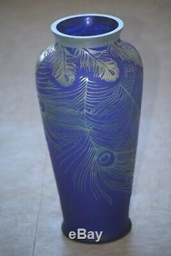 Fenton Art Glass Cameo Glass Peacock Feathers On Favrene Kelsey #242 / 750