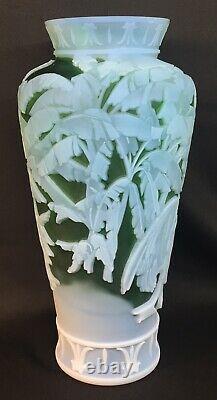 Fenton Art Glass Cameo Leida On Emerald Cased In Milk Glass Number 23 Of 175