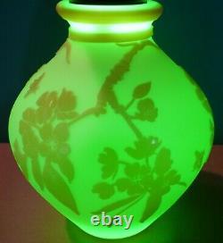 Fenton Art Glass Kelsey Murphy Cameo Carved Cherry Blossoms on Burmese Vase LE