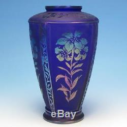 Fenton Art Glass Purple Cameo Vase Martha Reynolds LE 468 of 1250