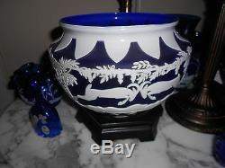 Fenton Burmese sandcarved Kelsey Murphy Cameo lamp Blue and white with rams