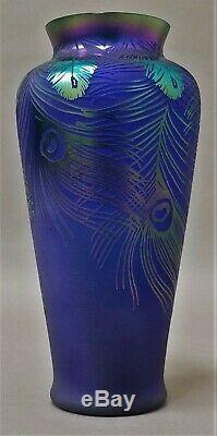 Fenton Cameo Carved Peacock Feathers Favrene Vase Limited Edition SEE CONDITION