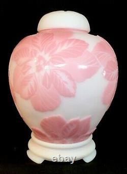 Fenton Cameo Carved Poinsettias Ginger Jar Rosalene Studio Glass 2007 LIMITED