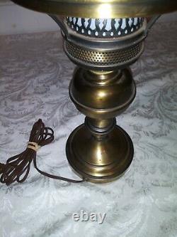 Fenton Chocolate Roses on Cameo Satin Glass Large Lamp