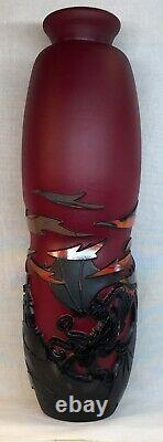 Fenton / Frank Workman KISS Of Flame Cameo Carved Dragon Vase ARTIST PROOF