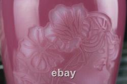 Fenton Glass Rose Quartz Cameo Vase Connoisseur Sand Carved Woman