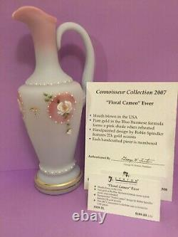 Fenton Hand Painted Floral Cameo Blue Burmese Ewer #5339 Fl Price Reduced