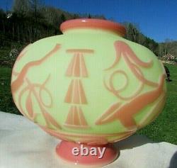 Fenton Kelsey Murphy Burmese Cameo Sand Carved LE #105/325 Vase Deco Deer