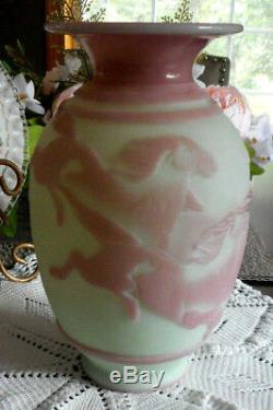Fenton Kelsey Murphy Cameo Sand Carved Lotus Mist Vase Le Galloping Horses 2007