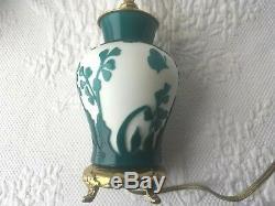 Fenton Kelsey Murphy Pilgrim Cameo Glass Dresser Lamp Green White Butterfly