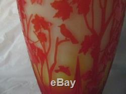 Fenton Kelsey and Bomkamp Cameo Sand Carved Vase 101\2''tall Morning Sun