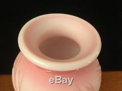 Fenton Ltd Ed Sand Carved Cameo Glass Vase Windy Walk Signed