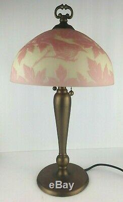 Fenton Made in Heaven Cameo Glass Lamp 51/100 Pink Burmese