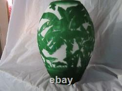 Fenton Sand Carved by Kelsey and Bomkamp Vase 12''tall Beyond the Platation