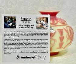 Fenton, Vase, Burmese Cameo Glass, Sandcarved, Limited Edition, Kelsey Murphy