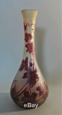 Fine Signed LEGRAS Cameo Glass Vase with Red Floral Design c. 1910 antique French