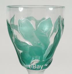 Fine Vintage Carved European Cameo Glass Cordial Stem Goblet Floral Art Nouveau