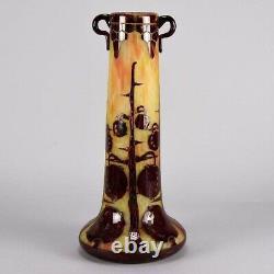 French Art Deco Cameo Glass Vase'Decor Marrons' by Le Verre Francais