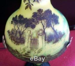 French Art Nouveau Cameo Glass Table Lamp Signed J. Michel Paris