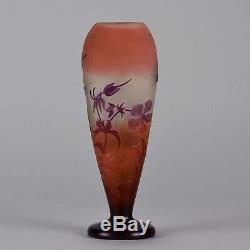 French Art Nouveau Cameo Glass Vase Paysage des Fleurs by Emile Gallé