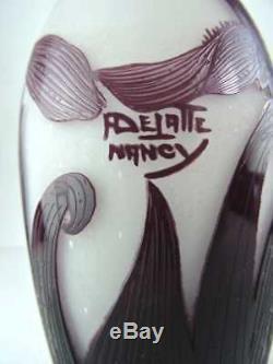 French Art Nouveau Cameo Glass Vase Signed A. DeLatte Nancy c. 1920 10.5 inches