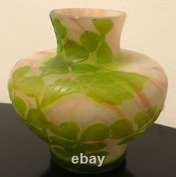 French Cameo Antique Art Cabinet Glass Vase Galle Daum Unsigned Mint 4