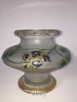 French Cameo Art Glass Vase St Denis 5.5 6.5 LEGRAS, C. 1900 Hand painted