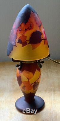 French Emile Galle Style Cameo Glass Table Lamp