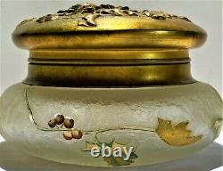 French Mont Joye Art Glass Enameled Cameo Glass Trinket Box ca 1890
