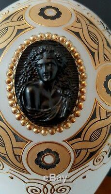French Napoleon III Opaline Vase W Cameo C 1870 Art Glass Very Rare