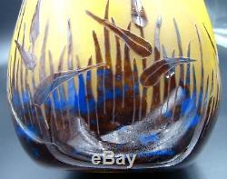 French Schneider Le Verre Francais Cameo Art Glass Halbrans Pattern Vase ca 1924