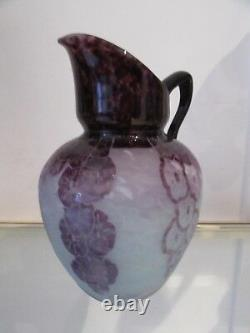 French original cameo art glass large pitcher Charder Le verre Francais Lavande