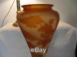 French original emile Galle cameo glass vase circa 1890 height 40cm Nasturtiums