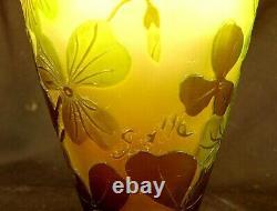 GALLE CABINET VASE 3 COLORS ANTIQUE CAMEO GLASS c. 1900