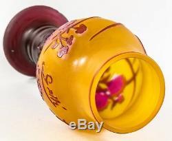 GALLE Cameo Cut Back Burgundy FLORAL on Amber CABINET VASE C1900