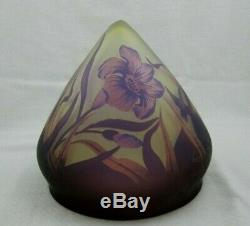 GALLE Cameo LILY Art Glass Table Lamp Shade Signed
