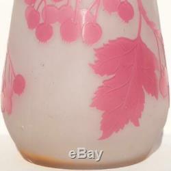 GALLE FRANCE ART NOUVEAU BERRIES FLOWER ACID ETCHED CAMEO GLASS VASE H 16/40cm
