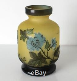GALLE Tip Cameo Glass Vase, floral design Stunning colors butter yellow, blue