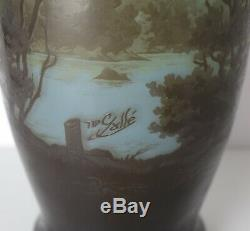 GALLE Tip Cameo Glass Vase, lake scene. Stunning colors from yellow to deep blue