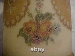 GREAT Pair Signed BELLOVA Czech Deep Cameo Etched Art Glass Lamp Shades Multi Co
