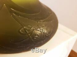 Galle Cameo Vase Art Nouveau French Art Glass Vase Green Floral 22.5 inch tall
