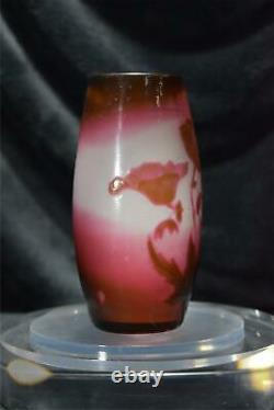 Galle Fire Polished Cameo Vase Signed Cristallerie E Galle