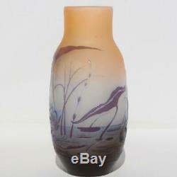 Galle France Aquatic Pond Plants Water Lilies Lotus Acid Etched Cameo Glass Vase