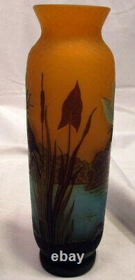 Galle French Cameo Glass Vase With Dragonfly 2 Sides, Scenic Water Floral Decor