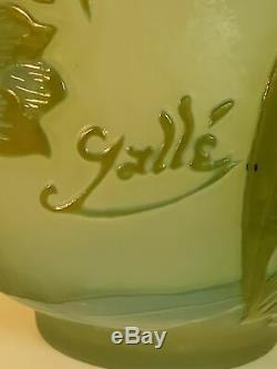 Galle French floral cameo glass vase, late 20th c