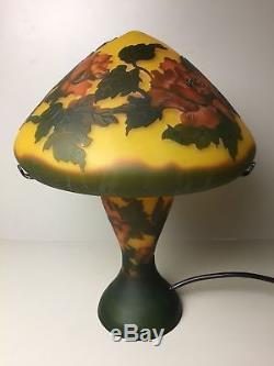 Gallé Galle Style Mushroom Table Lamp Art Nouveau Etched Cameo Glass, 33 cm