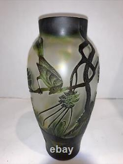 Galle Inspired Art Glass Vase Art Nouveau 8 Etched Cameo Birds Trees Z Mark
