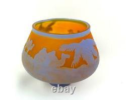Galle Signed French Cameo Art Glass Camels In Desert Blue & Orange 5 Vase 1920
