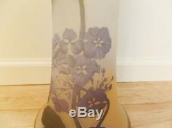 Galle Signed With Star Galle Massive Antique Cameo Glass With Hydrangea Vase