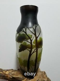Galle Vase Art Nouveau Glass Acid Etched Embossed Cameo 14 Large Mint